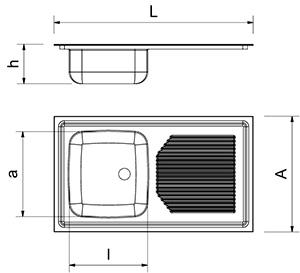 Built-in double sink, drainer left