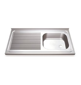 Sink with drain board on the left and hinged doors