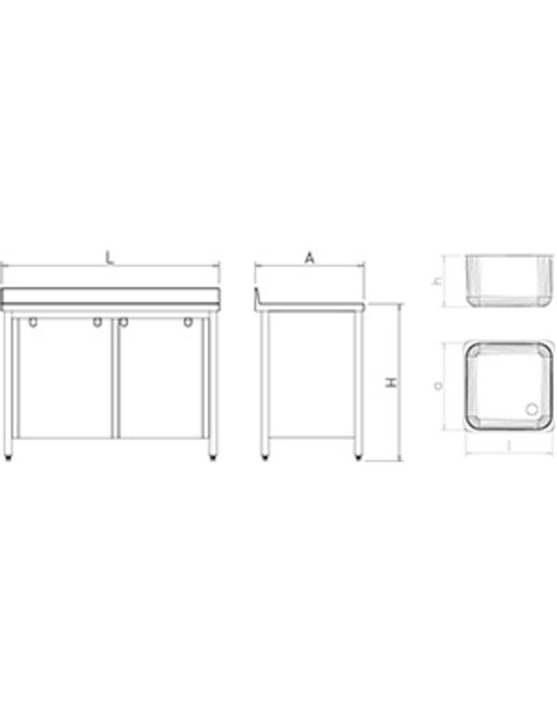 Dubbele spoelbak met 2 afdruipplaten en schuifdeuren
