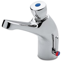 Tap with push button and double inlet