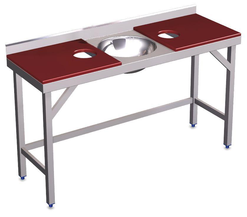 Dubbele bereidingstafel met wasbak