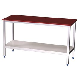 Table with polyethylene top and shelf