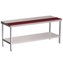Table with half worktop in polyethylene and shelf