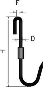 Draaibare J-vorm haak