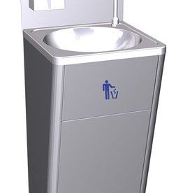 Mobile hand sink with garbage bin