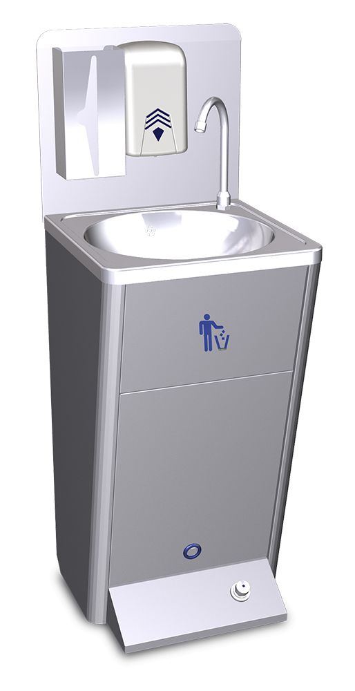 Mobile Hand Sink With Garbage Bin Inox Rvs For Food Industry