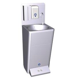 Mobiele handwasbak met twee bestuurknoppen voor warm en koud