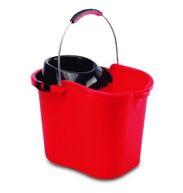 Plastic bucket with metal handle