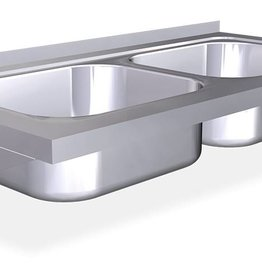 Wall mounted double sink with brackets
