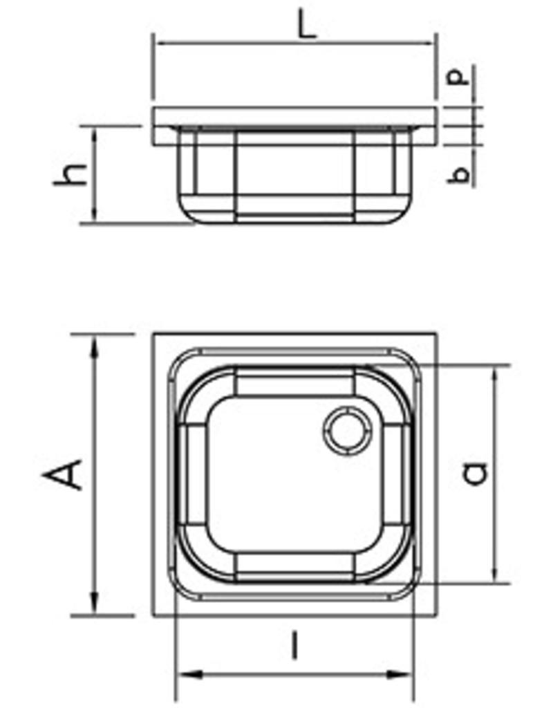 Dubbele wasbak met wandmontage en beugels - afdruiprek rechts
