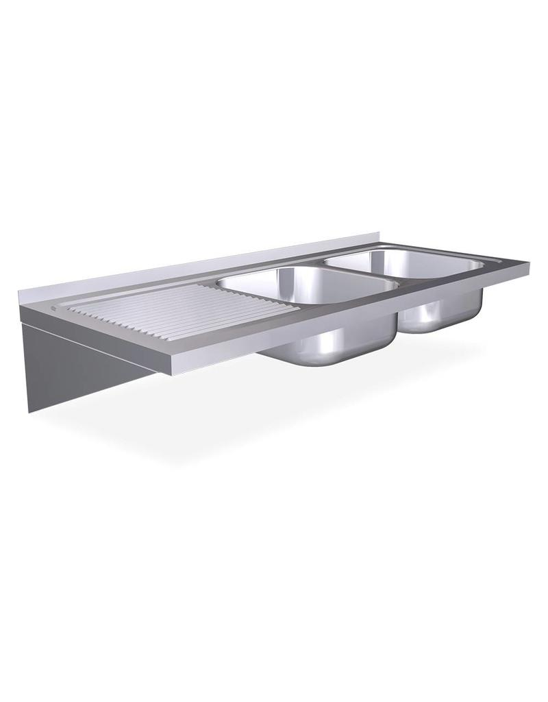 Wall mounted double sink with brackets - drainer on the left