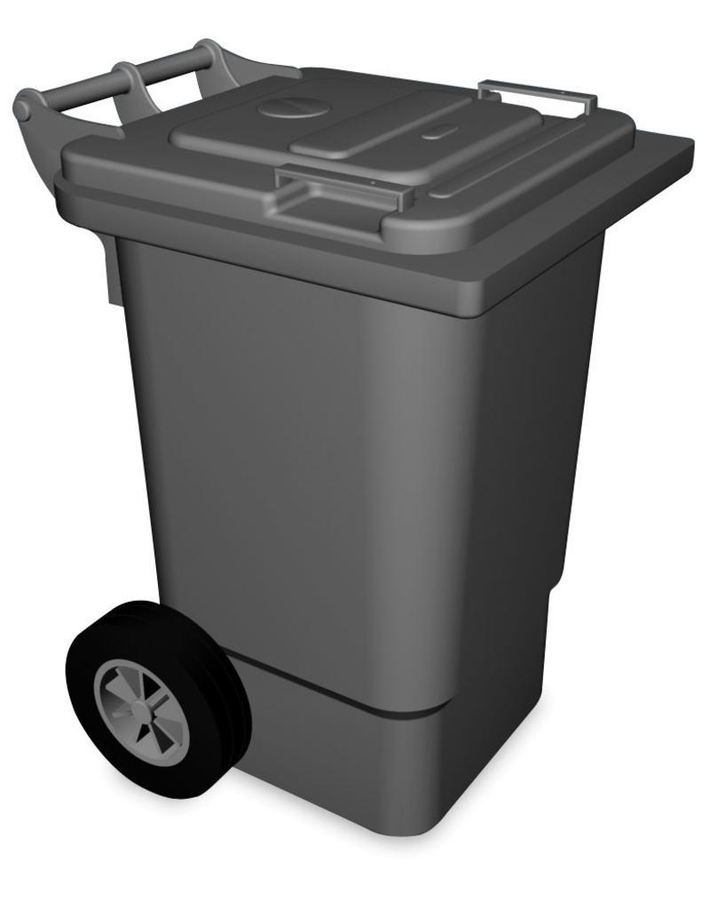 Afvalbak met klep en wielen met pedaal