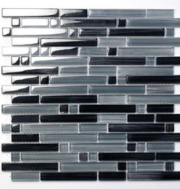 Palermo Grey glas mosaic tiles 1. Choice in 30x30x1 cm