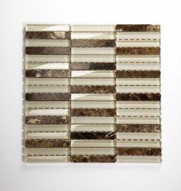 Quebeck Braun Poliert Lang Mix Glas Mosaikfliesen 1.Wahl Premium Qualität in 30x30 cm