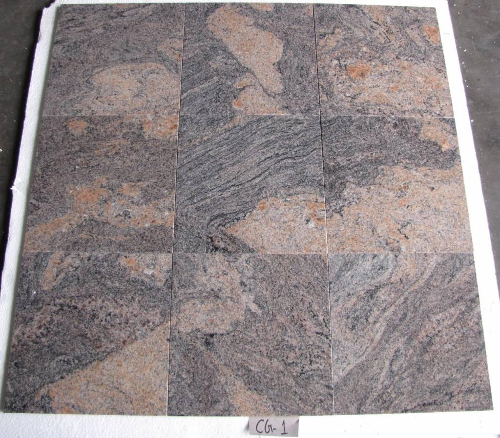 Juparana Colombo Dalles en granit poli chanfrein calibré 30,5x30,5x1cm