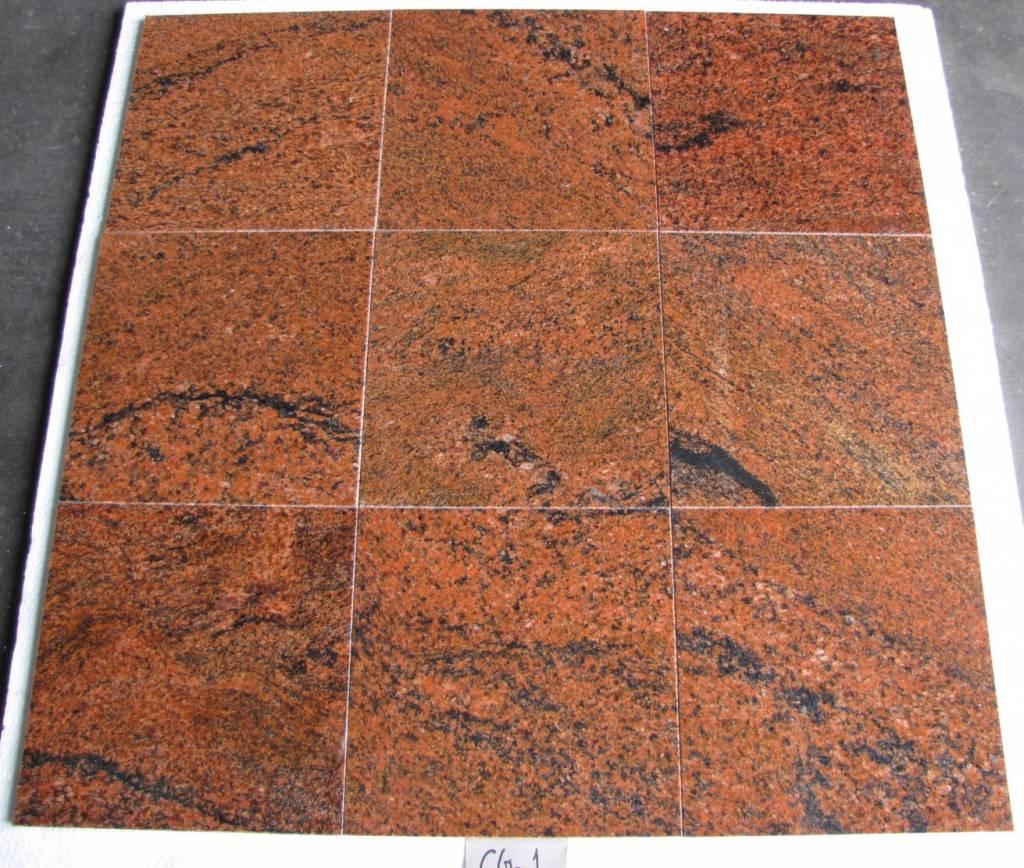 Multicolor Red Natuursteen Tegels Gepolijst Facet Gekalibreerd 30,5x30,5x1cm