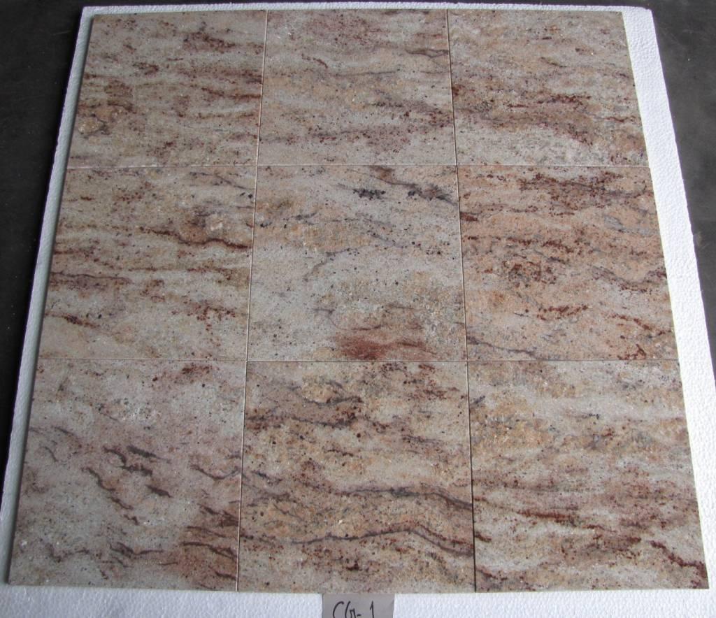 Ivory Brown Shivakashi Dalles en granit poli chanfrein calibré 30,5x30,5x1cm