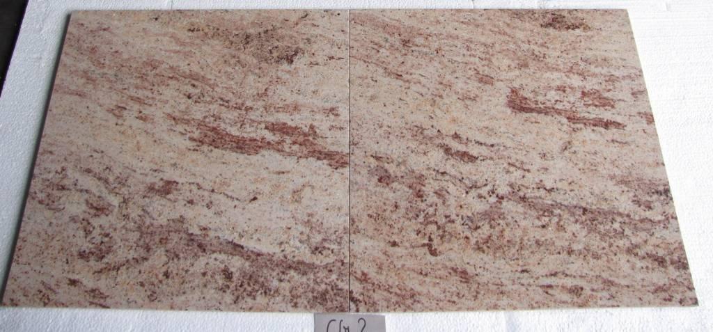 Shivakashi Ivory Brown Dalles en granit poli chanfrein calibré 61x61x1,5cm