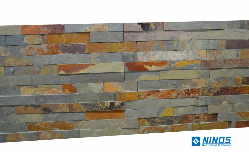 Wall bricks stone panels Multicolor Slate