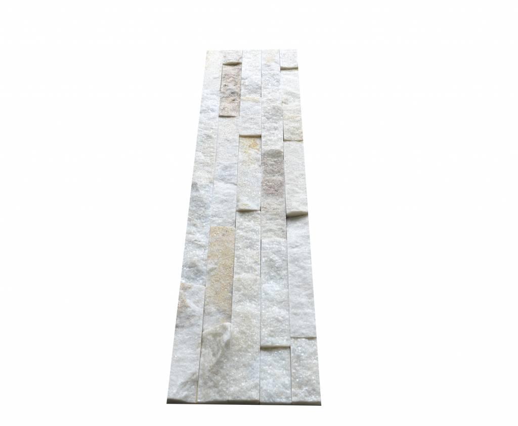Brickstone White Creme Kwartsiet Nauursteen Steenstrips