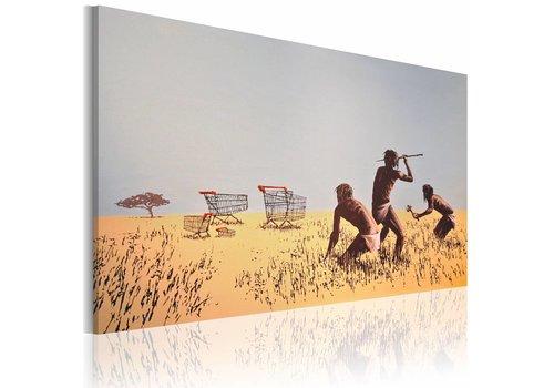 Schilderij - Winkelwagentje jagers, Banksy
