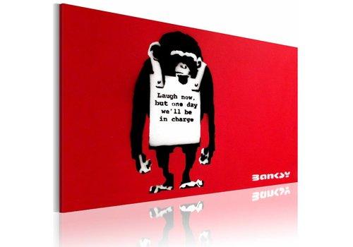 Schilderij - Lach nou! , Banksy