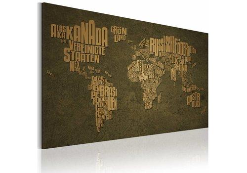 Schilderij - De kaart van de wereld, Duitse taal: Beige continenten