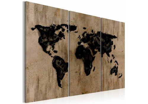 Schilderij mysterieuze kaart van de wereld