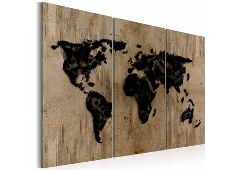 Schilderij - Mysterious map of the World