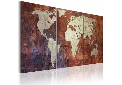 Schilderij - Stalen continenten