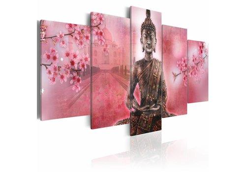 Schilderij - Boeddha in het roze