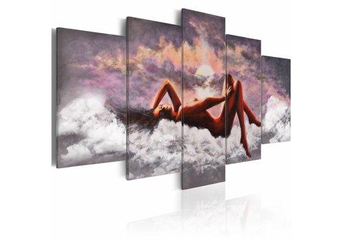 Schilderij - Naaktschilderij in wolken