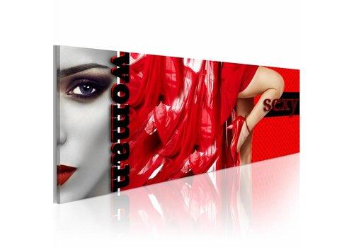 Schilderij - Woman in red  120x40cm