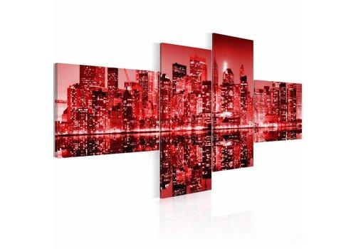 Schilderij - New York, stad in het rood