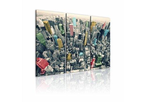 Schilderij - New York - zwart wit maar met kleuren