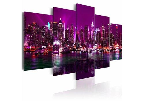 Schilderij - De nachtscène van Manhattan, New York