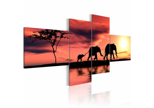 Schilderij - Olifanten familie in Afrika