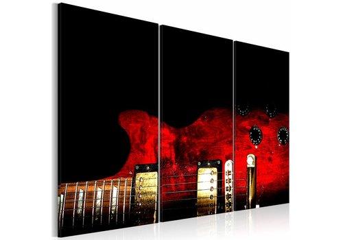 Schilderij - Rode gitaar