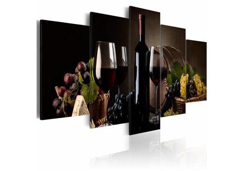 Schilderij - Fles wijn en glas