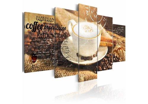 Schilderij - Koffie, Espresso, Cappuccino, Latte machiato ...