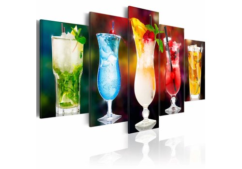 Schilderij - Gekleurde glazen, mix drankjes