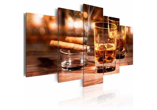 Schilderij - Whisky en sigaar