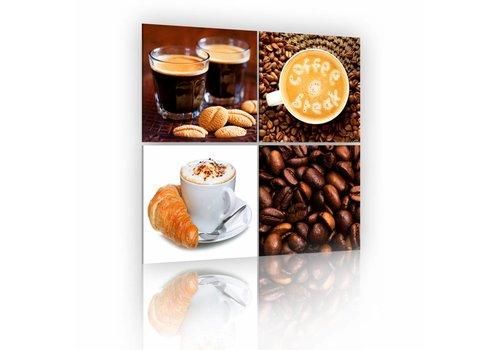 Schilderij - De morgen met koffie in 4 delen