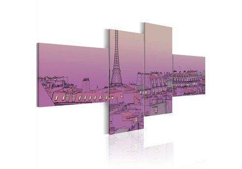 Schilderij - Paars Parijs