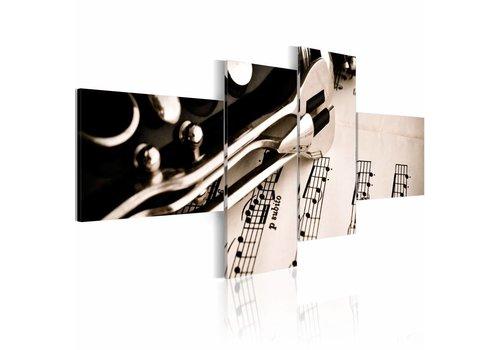 Schilderij - Klarinet en noten