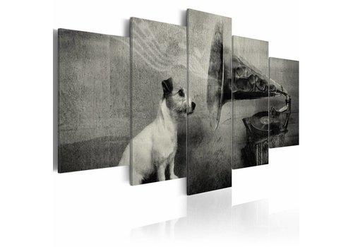 Schilderij - De hond luistert voor de trechter van de grammofoon