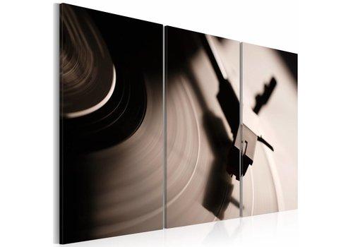 Schilderij - Stijlvolle grammofoon, Vinyl