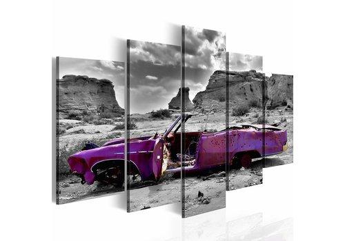 Schilderij - Retro auto in Colorado Desert - 5 stuks