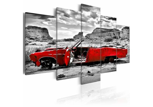 Schilderij - Rode retro auto in Colorado Desert - 5 stuks