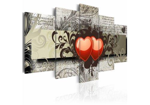 Schilderij - Twee harten, een gedachten